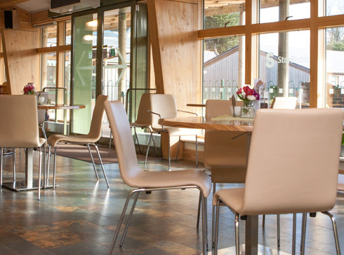 The Star Bistro dining area with large windows, tables and cream chairs.