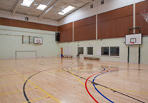 Multiuse sports hall with basketball rings and sports lines on a wooden floor and viewing gallery