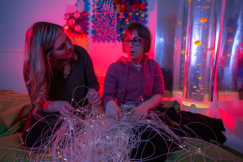 Student in the sensory room at National Star in Hereford