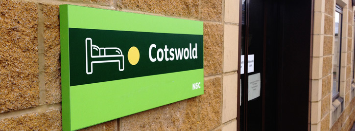 Close up of the Cotswold sign.