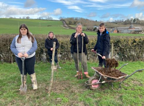 Four students at Wessington Court Farm