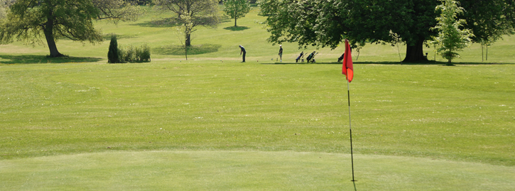Glof course green with golfers in the background hitting towards red flag marking the hole