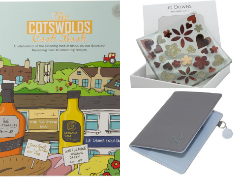 StarShop items: The Cotswold Cook Book, Jo Downs Leaf Glass Flower Bowl, Star Leather Passport Wallet