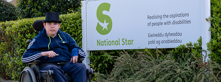 National Star in Wales student outside the college building