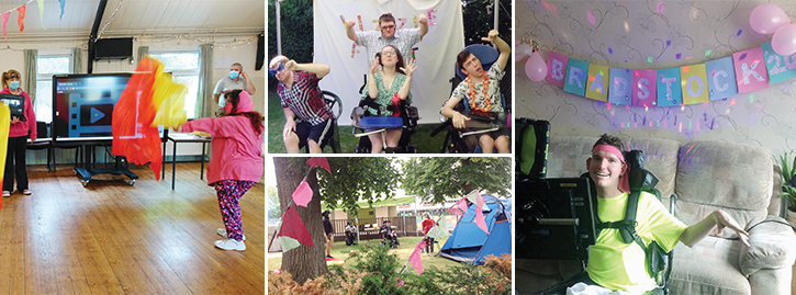 Students smiling enjoying their Bradstock festival experience, including tentsánd festival party themed banners