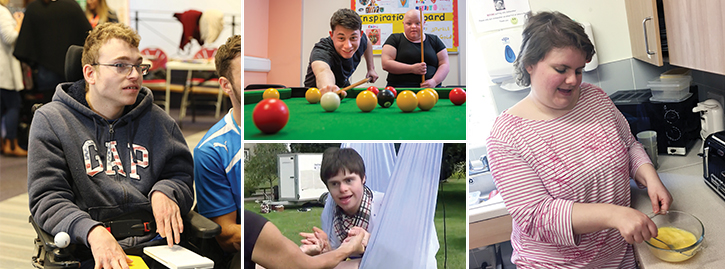 Collage photo of students playing snooker and in the kitchen cooking