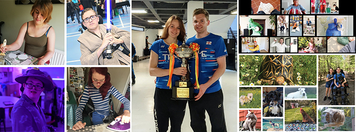 Collage photo from left to right: Students painting, ironing, dancing and holding lightsaber. Centre: Badminton players holding trophy with ribbons on it. Right: assortment of virtual pet show photos including a tortoise, cat and dogs.