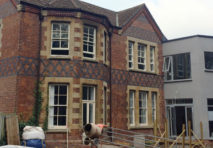 Front view of the construction site of 1 Ledbury Road, Hereford