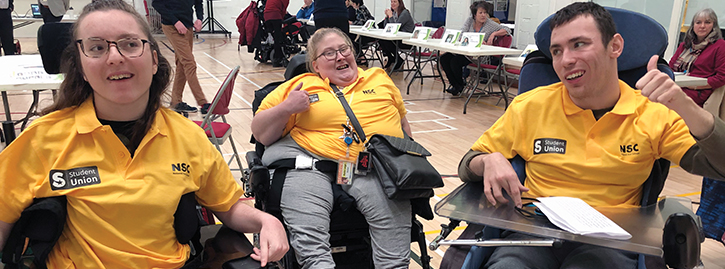 Two female and one male Student Union members smiling from the 2019 Learner Voice event