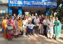 Picture of a group of people outside the National Skill Training Institute in India