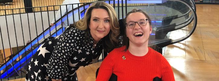 Francesca smiling alongside BBC broadcaster Victoria Derbyshire
