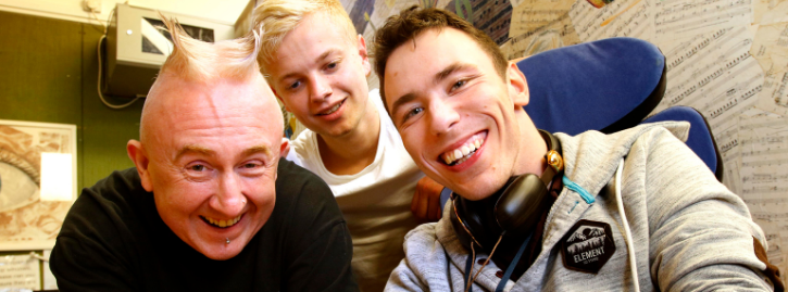 Ed, a National Star College student, with Lee, left, and Ben, in the College's DJ sessions