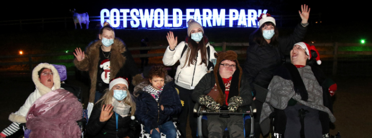 Four students with their carers from the National Star College at Ullenwood make a special visit to Adam Henson's Cotswold Farm Park to see the Enchanted Light Trail. - 12 December 2020Picture by Andrew Higgins/Thousand Word Media NO SALES, NO SYNDICATION. Contact for more information mob: 07775556610 web: www.thousandwordmedia.com email: antony@thousandwordmedia.comThe photographic copyright (©2020) is exclusively retained by the works creator at all times and sales, syndication or offering the work for future publication to a third party without the photographer's knowledge or agreement is in breach of the Copyright Designs and Patents Act 1988, (Part 1, Section 4, 2b). Please contact the photographer should you have any questions with regard to the use of the attached work and any rights involved.