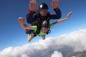 National Star fundraiser tandem skydiving with instructor 10,000 feet in the air