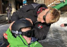 Dr Jarvis with student on Andorra trip