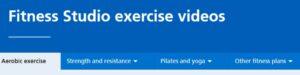 NHS Fitness tab