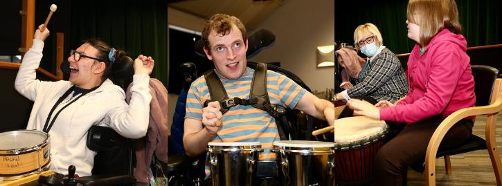 Students enjoying a virtual Samba drumming session