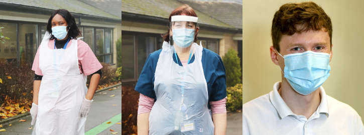 Trio of images of staff using PPE