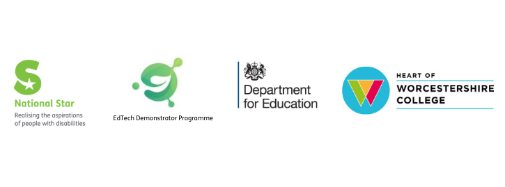 National Star logo, EdTech logo, Department of Education logo, Heart of Worcestershire College logo